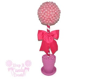 Large Pink Lollipop Candy Topiary, Baby Shower Centerpiece, Pink Wedding Candy Centerpiece, Pink Candy Tree, Lollipop Tree, Baby Girl Shower