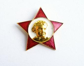Oktyabrenok Pioneer pin Soviet vintage Propaganda Pioneer badge Soviet scout Communism Red gold enamel pin Communist Star pin Hat pin USSR