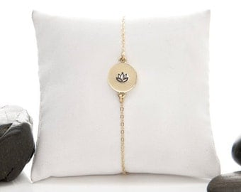 Yoga jewelry, yoga bracelet, Lotus bracelet, Lotus, lotus flower, lotus charm, yoga charm, Gold fill, gift, Eco Friendly
