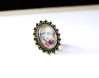 Lovely watercolor woman ring, colorfull floral print glass tile ring