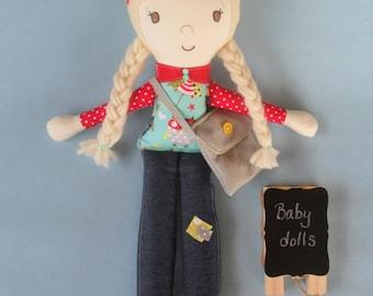 Custom Girl Doll, Custom Rag Doll, Doll with Yarn Hair, Keepsake Girl Doll, Kaiyas Room Cloth Girl Doll, Personalized Doll for Girls