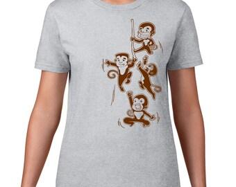Funny Monkey T Shirt, Playful Monkey TShirt, Funny T Shirt, Cheeky Monkey Tee, Jungle Animal Tshirt, Funny TShirt, Ringspun Cotton
