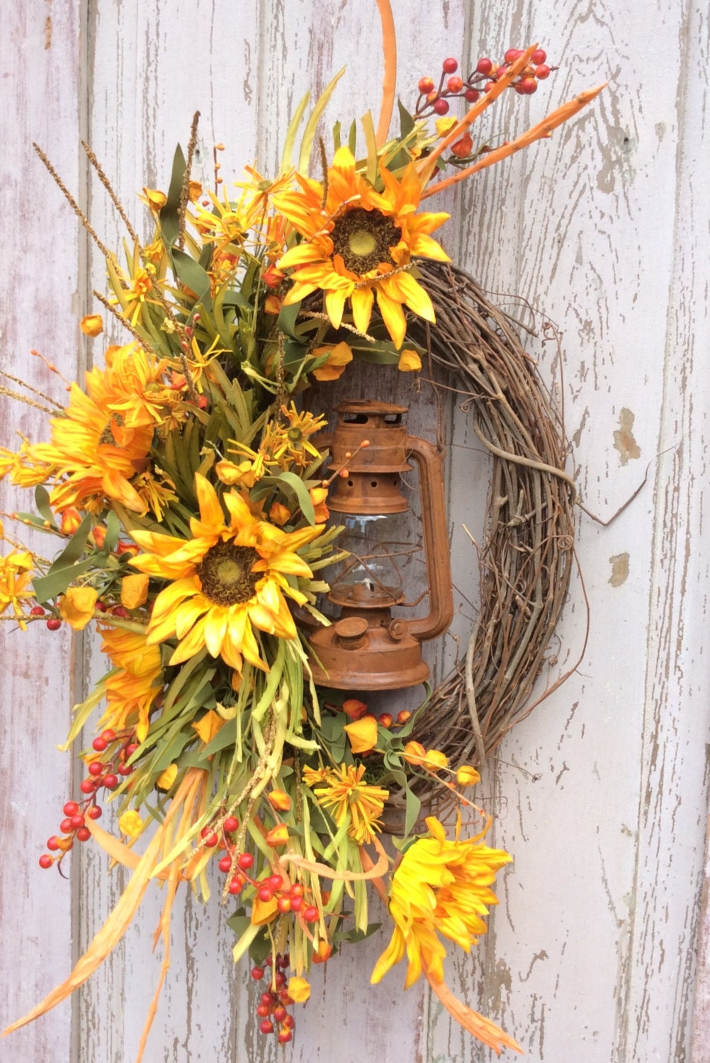 Sunflower lantern wreath sunflower wreath harvest wreath Fall autumn door wreaths