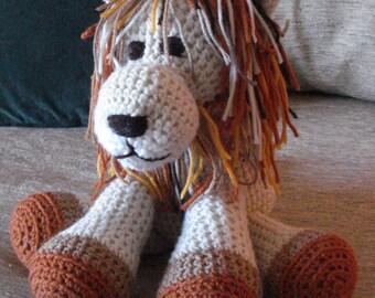"Crocheted lion stuffed animal doll  toy ""Louie"""