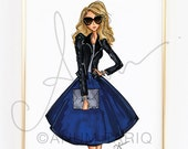 Fashion Illustration Print, Cobalt + Leather, 8x10""