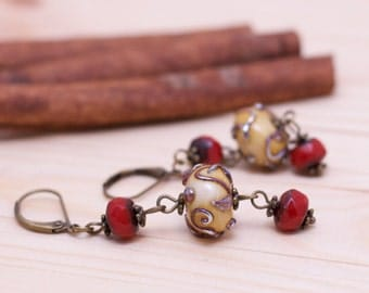 Dangle and Drop Earrings, Lampwork Earrings, Dangle Earrings, Boho Earrings - red, ivory, bronze