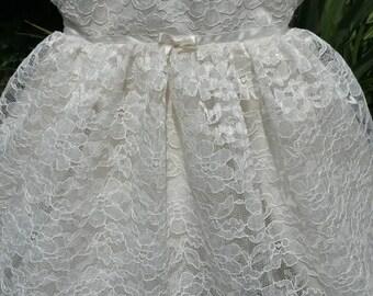 Beautiful Cream Lace Baby Dress / Christening Dress