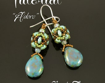 Adore - beaded bead earrings tutorial, beading tutorial, MiniDuo bead pattern, seed beads, Demi Round bead pattern / TUTORIAL ONLY