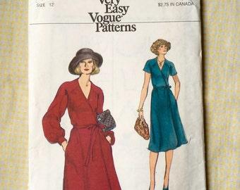 Vintage Uncut Vogue Sewing Pattern 9315 Misses' Loose Fitting, Wrap Dress - Size 12