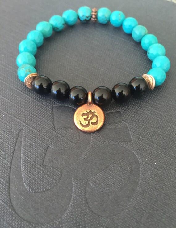 Genuine Turquoise Wrist Mala, Black Onyx Gemstone, Om Charm Bracelet, Chakra Jewelry, Healing , Protection, Stress Relief