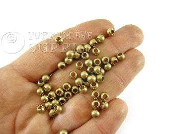 50 Raw Brass Ball Beads, 5mm Ball Spacer Beads, Solid Brass Beads, Raw Brass Beads, Raw Brass Findings