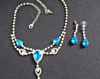 Aqua Rhinestone Necklace Set - Costume Jewelry