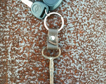 Skeleton Key and Leather Keychain
