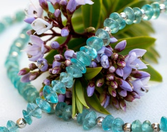 Natural Apatite Necklace with 925 sterling silver *Free worldwide shipping*