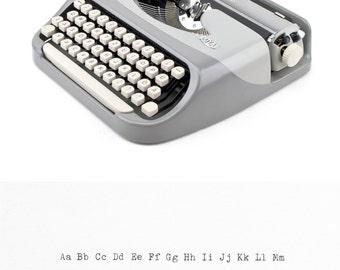 Royal Royalite - grey blue 60s retro - working typewriter with case - portable - vintage Royal typewriter