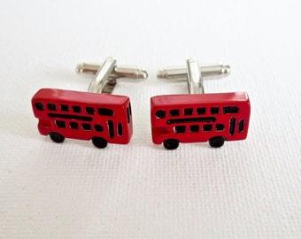 Double Decker Bus Cufflinks Cuff Links British English BLondon UK Groom Groomsmen Gift