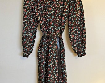 CHECKABERRY Vintage 70s Secretary Dress Black Floral