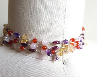 SALE Long Gemstone Necklace 43 in Amethyst Rose Quartz Citrine Garnet Carnelian Chain Wrap Bracelet Choker High End Fine Jewelry Life Bijou