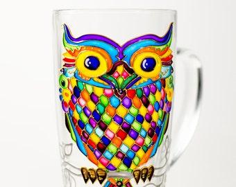 Owl Mug Gift, Large Owl Cup Owl Home Decor, Hand Painted Coffee Mug