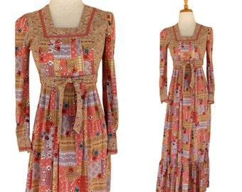 Vintage 1970s Peasant Boho  Dress by Jody T of California Size 7