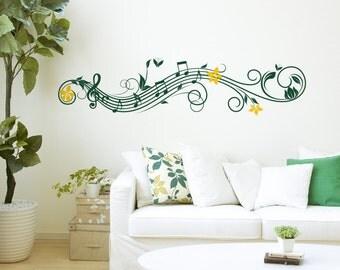 Musical Flowers Wall Sticker - Wall Decal - Home Decor - Wall Graphics - Vinyl Wall Sticker