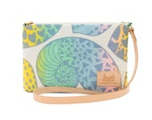 """Luxe by Jana Lam Leather Strap Cross Body - One of a Kind Nautilus Shell Print, """"Swirly""""- Made in Hawaii by Jana Lam"""