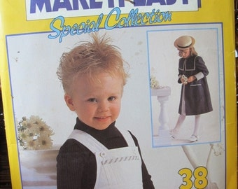 Vintage patterns for child's dungarees, sun dress, and coat - Sizes 2-6