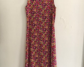 1990s Floral Sweetheart Tank Dress
