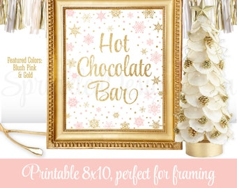 Hot Chocolate Bar Sign - Winter Onederland Decorations - Blush Pink Gold Glitter - Winter Baby Shower Decorations Party Decor - 8x10 Sign