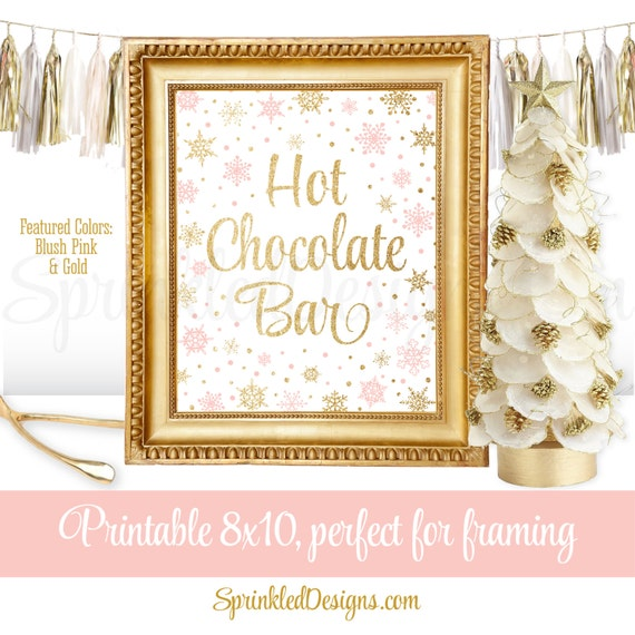 Hot chocolate bar sign winter onederland decorations blush for Number 1 decorations
