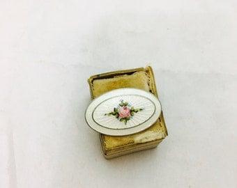 Vintage Guilloche Enamel Floral Painted Design Brooch