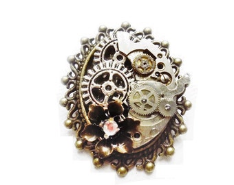 Steampunk Brooch Pin, Lapel Pin, Hat Pin, Steampunk Jewelry, Womens Brooch, Glitzy Gift for her