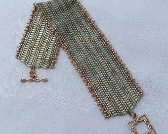 Sage Green Ribbon Bracelet  B1037