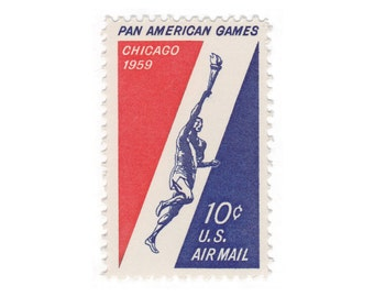 10 Unused Vintage Airmail US Postage Stamps - 1959 10c Pan-American Games - Item No. c56