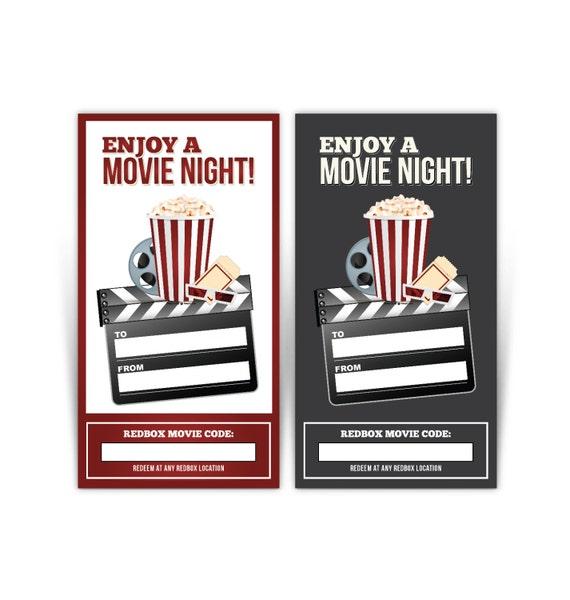 redbox gift card tag printable popcorn black enjoy