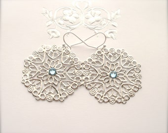 Silver Filigree Earrings, Lace Filigree Earrings, Aquamarine Swarovski Crystal, Filigree Earrings, Gift for Her, Romantic, Wedding Jewelry