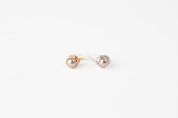Champagne Pearl Ring-Cream Pearl Wire Ring-Champagne Pearl Silver Wire Ring-Champagne Pearl Gold Wire Ring-Silver Wire Ring-Gold Wire Ring