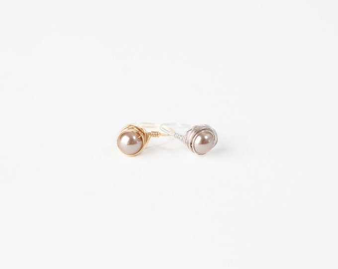Champagne Pearl Wire Ring