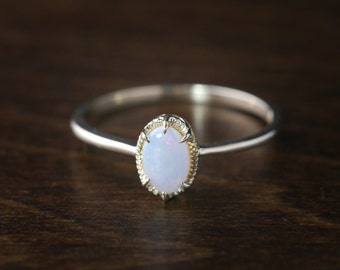 Natural opal ring, Oval white opal ring, Large opal ring, October Birthstone ring, 14k solid gold statement solitaire ring, ado-r105-opa