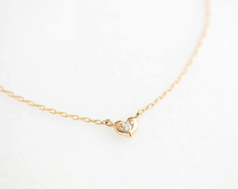 Gold heart diamond bracelet, tiny heart diamond bracelet,valentines day gift, mothers day gift, 14k rose, yellow, white gold, hea-b102-dia