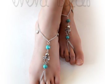 Chain Bead Barefoot Sandals. Silver Chain Foot Jewelry. Octopus Charm and Turquoise . Slave Anklets. Beach Wedding. Body jewelry. Set of 2