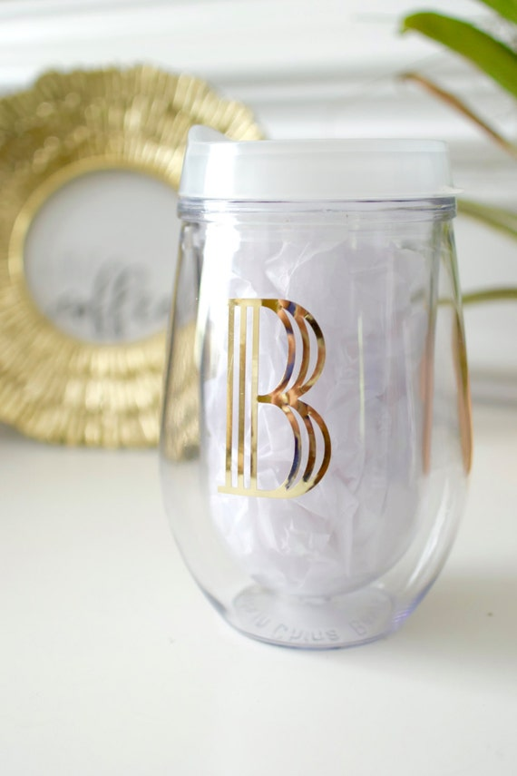 Gold Foil Initial Monogram Wine Glass Frost Lid Stemless