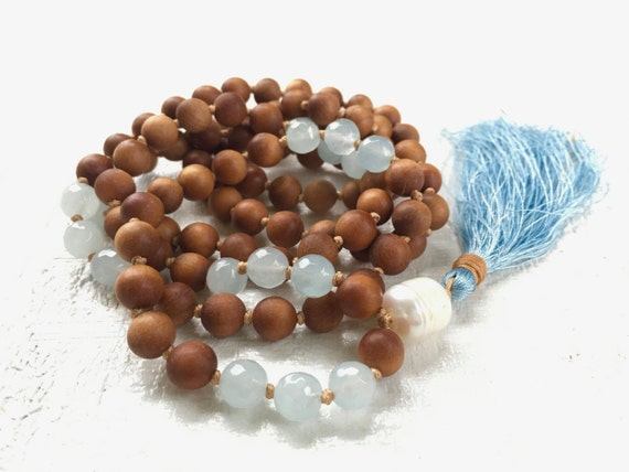 Pearl and Sandalwood Mala Beads, Pearl Knotted Mala, Light Blue Mala Beads, 108 Beaded Mala, Tassel Mala