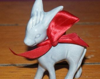 Cute Vintage Porcelain Miniature Gray Donkey