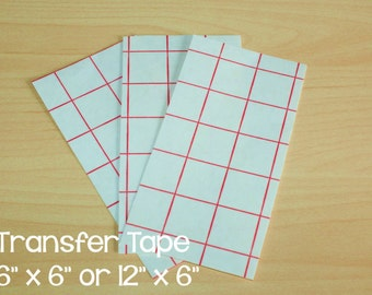 """10 Red Grid Line Transfer Tape / Paper; 12"""" x 6"""" or 6"""" x 6""""; Perfect for use with Crafting Adhesive Vinyl"""