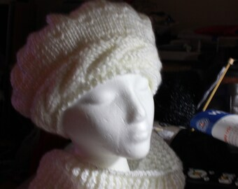 Beret with Cable Headband