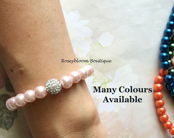 Blush Bracelet-Glass Pearl Bracelet-Bridesmaid Bracelet-Pink Braclet-Wedding Jewelry-Clay Ball Rhinestone Pale Blush Pearl Wedding Bracelet