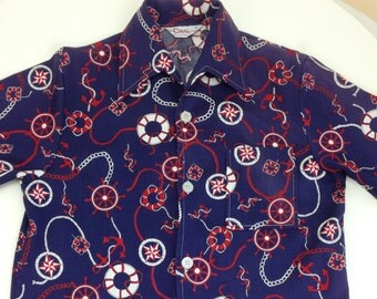 1950's Cabana Shirt in a Nautical Pattern / Catalina Sportswear  / Men's Medium