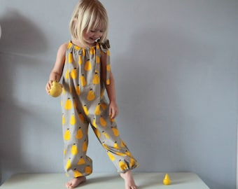 Baby girl romper in pear printed cotton, Summer girls outfit, Fruit print Summer jumpsuit, Long leg romper, 6 months, 12 m Baby girl clothes