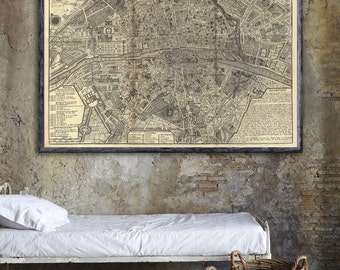 "Old map of Paris  1705,  Vintage Paris map reprint in 4 sizes up to 36""x30""  and three color styles"
